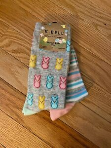 NEW K Bell  Easter Bunny / Stripes Womens Acrylic Blend Sock 2 pairs M40