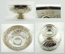 Large Antique Edwardian English Sterling Silver Repousse Bowl c. 1902-03
