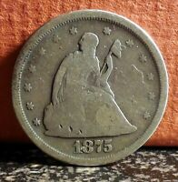 Nice Type Coin 1875 S Seated Liberty Silver 20 Twenty Cent Piece J4