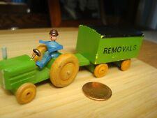 "1970s East Germany Wood Mini Toy Tractor Wagon ""Removals"" Umzüge Ddr Spielzeug"