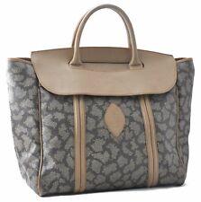Authentic YVES SAINT LAURENT Leopard Hand Bag PVC Leather Brown White A4810
