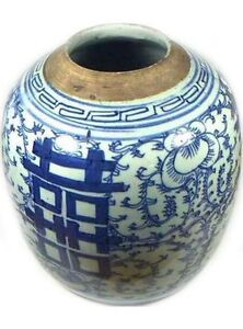 "Antique Porcelain Blue + White ""Ming Style"" Vase HUGE 19thC China Hand Painted"