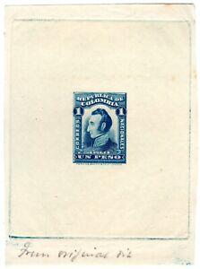 COLOMBIA - PERKINS - SUCRE - 1p SUNKEN DIE PROOF IN BLUE - 1917 - Sc 347p