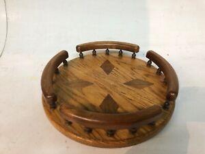 Mid Century Modern Round Lazy Susan Danish Walnut Diamond Inlaid Oak Turn Table