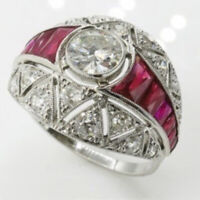 Jewelry Art White Ring Sz Deco Ruby 6-10 Silver Engagement Fashion Wedding Topaz