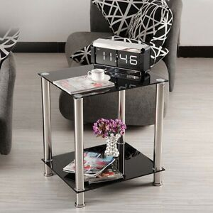 Black Square Glass Coffee Table Side End Lamp Table 2 Tiers Small Display Stand