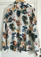 Paris Atelier & Other Stories 100% Silk Shirt Blouse Tropical Print Size 40 14