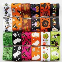 "12YARDS Assorted of 20 Styles 1"" 25mm Halloween Grosgrain Ribbon Craft Bulk Lots"