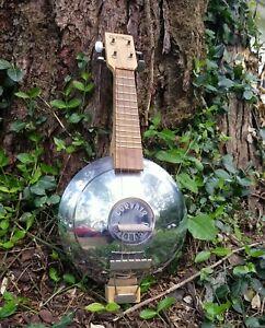 Vintage Claire Banjo Mandolin / Banjolin Handmade with Chevy Corvair Hub Cap