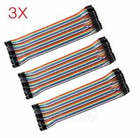 3X 3 PCS 40pc Dupont Wire Jumper Cable 1P-1P 2.54mm Male to Female length 20cm