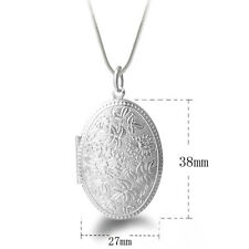 1Pc Flower Carved Friend Lover Photo Picture Frame Locket Pendant For Necklace