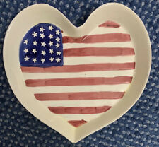 Vintage Giftco Ceramic Heart Shaped Patriotic Flag Americana Plate Server Guc