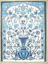 "Ceramic tile art Mosaic mural panel floral Blue white BACKSPLASH 18"" x 24"""