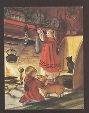 RARE Mint Tasha Tudor Vintage American Artist Christmas Card #P829 Kids Corgi