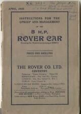 Rover 8 HP original Handbook Car Numbers Commencing 85001 dated April 1922