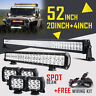 "52INCH LED LIGHT BAR COMBO +20IN +4"" CREE PODS OFFROAD SUV 4WD ATV FORD JEEP 50"""