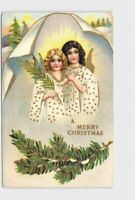 ANTIQUE POSTCARD CHRISTMAS ANGELS SNOW COVERED BRANCHES GOLD FOIL