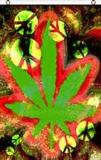 Tie Dye Peace And Marijuana Leaf Flag 5' X 3' Vertical Indoor Outdoor Banner