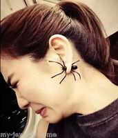 Herren Damen Schwarz Ohrstecker Spider Spinne Tarantel Halloween Punk Ohrringe