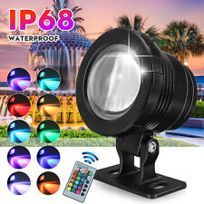 20W RGB LED Spot Lights Underwater Pool Fountain Pond Lamp Waterproof + Remote