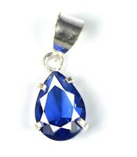 Natural Pear 7.20 Ct Blue Tanzanite 925 Sterling Silver Pendant Certified L9604