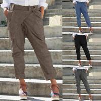 ZANZEA Women Casual Plain Long Pants Wide Legs Bowknot Harem Pants Trousers Plus