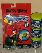 5 Angry Birds Mashems Series 1 + Space 2 Black, Red, Egg, Mask, Ice Blue New Set