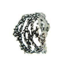 Anello argento brunito a grani tipo sarda forma ramo corallo MISURA REGOLABILE