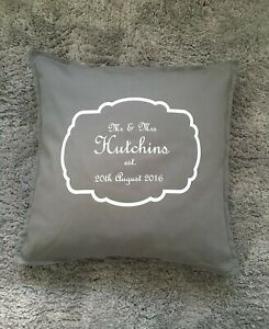 Mr and Mrs Personalised Wedding or Anniversary Gift Grey Cushion Cover