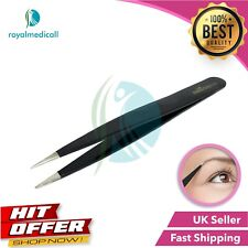 Professional Black Eyebrow Tweezers Pointed Hair Plucker Hair Remover Tweezers