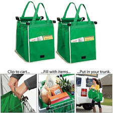 New Pack of 2 As Seen On Tv Grab Bag Clip-To-Cart Reusable Grocery Shopping Bags