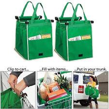 Nuevo Pack de 2 como se ve en TV Grab Bag Clip-a-Carro de la compra bolsas reutilizables de abarrotes