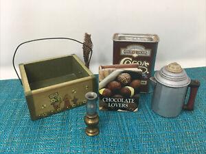 Country chocolate lovers kitchen shelf decor- pot, box, tin and book & lantern