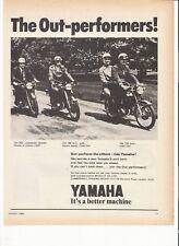 Yamaha 125 Twin, 180 Twin, 250 Twin classic period motorcycle advert  1969