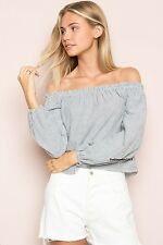 NEW! brandy melville navy/white striped off shoulder cotton THEIA TOP NWT sz S/M