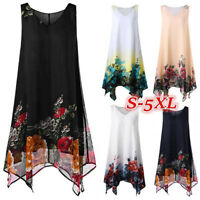 Women Plus Size Boho Floral Print Chiffon Sleeveless Irregular Hem Mini Dress AU