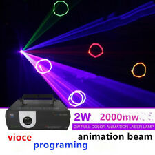2W RGB Full color Animation program Laser Light DMX ILDA DJ Party Stage Lighting