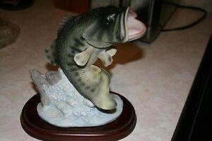 "Vintage 1988 Homco Masterpiece Porcelain Signed Figurine ""Large Mouth Bass Fish"""