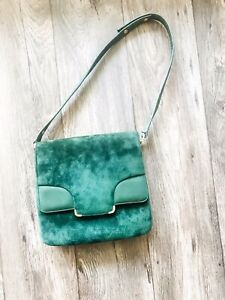 Vintage Emerald Suede Satchel Gold And Leather Detail