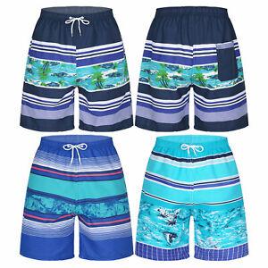 Men Colorful Pattern Swimwear Bathing Suit Striped Beach Board Shorts Surf Pants