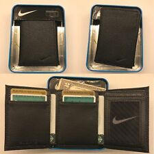 NIB NIKE MENS BLACK TRIFOLD PEBBLE GRAIN GENUINE LEATHER WALLET NIB NWT