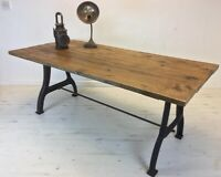 Industrial Cast Iron  Dining Table & Vintage Scaffold Board Top..