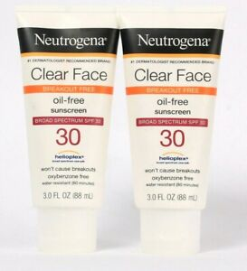 2 Count Neutrogena 3 Oz Clear Face Oil Free Broad Spectrum SPF 30 Sunscreen