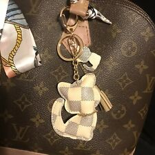 Designer inspired Grid Kitty Cat Checkered Tassel KeyChain Bag Charm