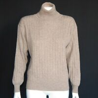 Neiman Marcus Beach Brown Cashmere Cable Turtleneck Sweater Womens Small - 2039