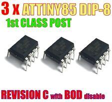 ATTINY85 X 3.  20PU dip Atmel REVISION C. 20MHz 8k Flash 500B SRAM 512B EEPROM