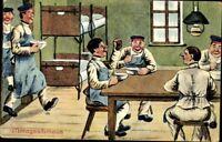 Ansichtskarte PK 1. WK Feldpost Mittagsschmaus Soldaten Farbdruck gelaufen 1914