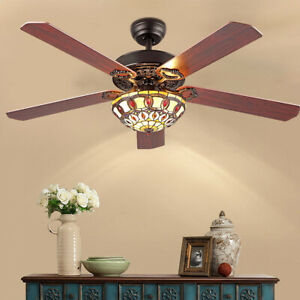"""52"""" Tiffany Ceiling Fan w/LED Light Remote Control Stained Glass Baroque Style"""