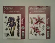 "Sheena Douglas 2 Rubber Stamp Sets ""A Little Bit Floral"" Iris/Lilly w/Case ""New"""