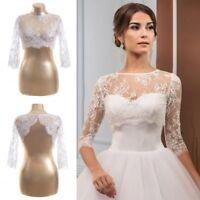 Short Lace Bolero Wedding Jackets White Ivory Plus Size Bridal Wraps 3/4 Sleeves